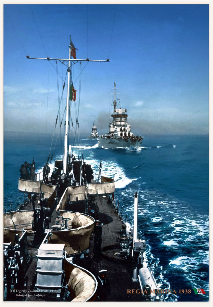 Italian battleship Conte di Cavour on maneuvers, 1938 with sistership behind