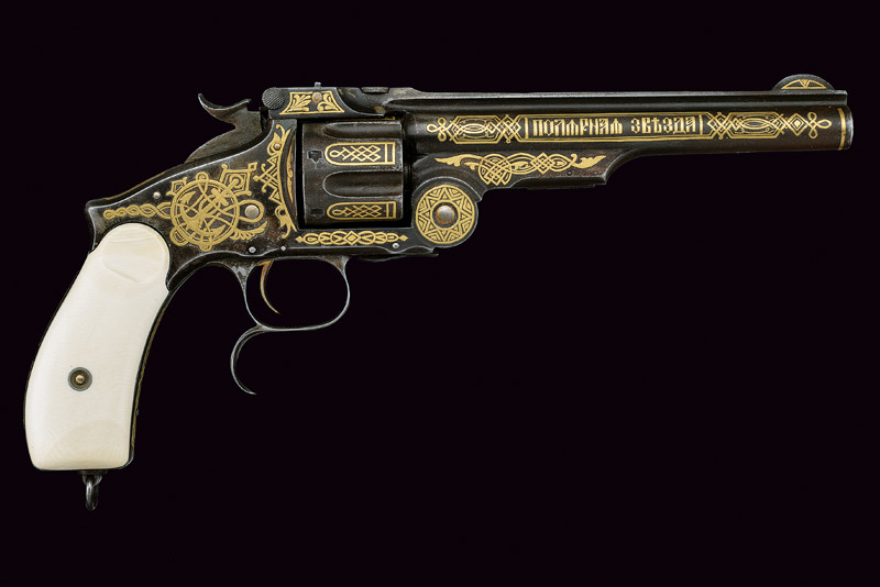 A Smith and Wesson .44-Russian caliber No3 revolver presented by the Tsar to the retiring Captain of the Polar Star in 1895. It was good to be close to the Tsar!