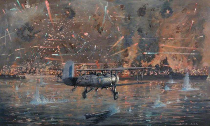 'Taranto Harbour, Swordfish from Illustrious Cripple the Italian Fleet, 11 November 1940′ by Charles David Cobb. Painting in collection of National Museum