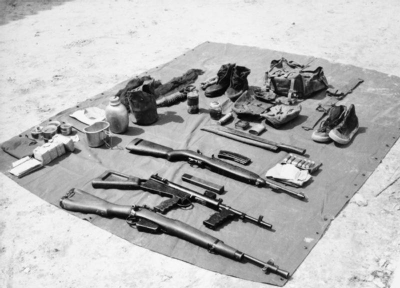 Specialised jungle equipment as carried by British forces during the Malayan Emergency The weapons are a Lee Enfield Rifle No5 MkI Owen sub-machine gun and an M1 Carbine