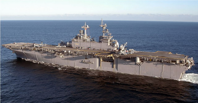 USS Wasp, LHD-1, bigger than her WWII namesake by a good bit, but with the same general lines