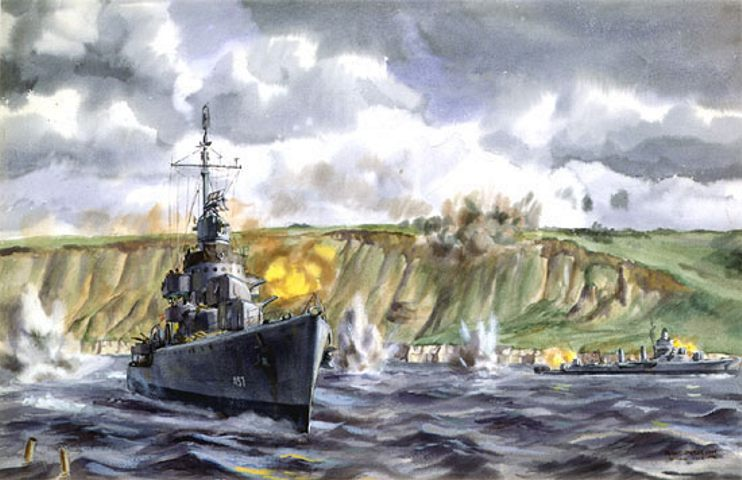 """The Battle for Fox Green Beach,"" watercolor by Dwight Shepler, showing the Gleaves class destroyer USS Emmons(DD 457) foreground and her sistership, the USS Doyle, to the right, within a few hundred yards of the landing beach, mixing it up with German shore batteries on D-Day"