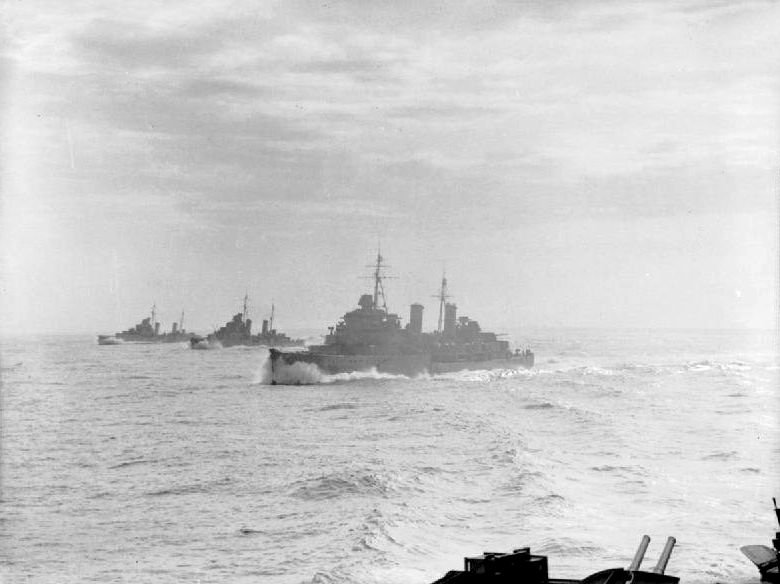 Dido-class sisters, The cruisers HMS Edinburgh, HMS Hermione (center), and HMS Euryalus, steaming in line abreast whilst they escort a convoy as part of Operation Halberd, at the time the largest resupply effort to Malta, to which the entire Italian navy sortied to attempt to stop.