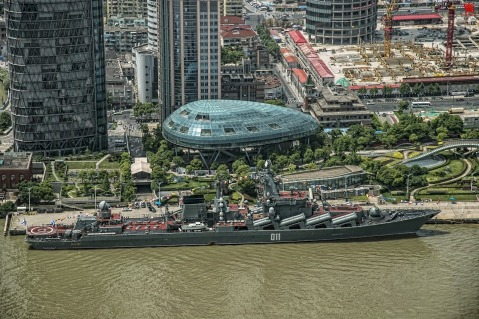 The Russian Cruiser Varyag of the Pacific Fleet, in Pudong, Shanghai, China. May 2014