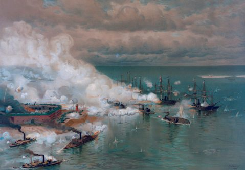 Battle of Mobile Bay by Louis Prang. CSS Tennessee at left