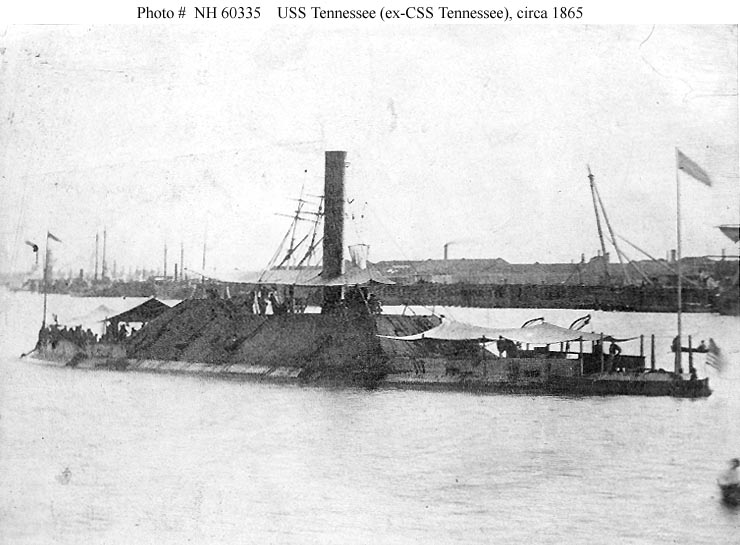 Port quarter view, probably taken off New Orleans, Louisiana, circa 1865. She was formerly CSS Tennessee (1864-1864). U.S. Naval Historical Center Photograph.