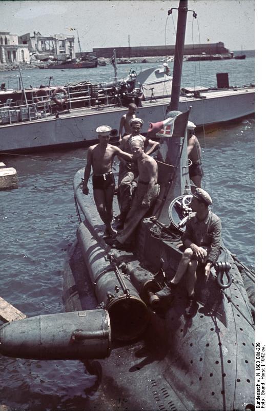 Italian midget submarine at Sevastopol, Russia , circa 1942 CB