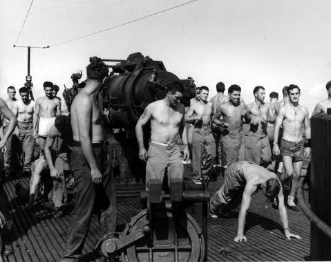 U.S. Marine Raiders exercise on the deck of USS Nautilus while en route to the raid on Makin Island on August 11 1942