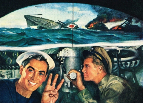Yamakaze sinking by Nautilus used in 1943 Electric Boat ad