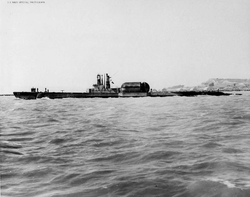 Broadside view of Perch (ASSP-313) off Mare Island on 6 May 1954. She was under going repairs at Mare Island from 8 December 1953 to 13 May 1954.     US Navy photo # 21035-5-54, courtesy of Darryl L. Baker.