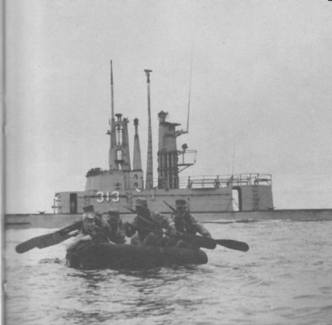 Perch (ASSP-313),during exercises with reconnaissance troops from the 1st Marine Division off the coast of California. In addition to many internal changes, the Perch's conning tower structure had been extended and additional masts and shears added by January 1957, when this photo was taken.USN photo and text from The American Submarine by Norman Polmar, courtesy of Robert Hurst via Navsource