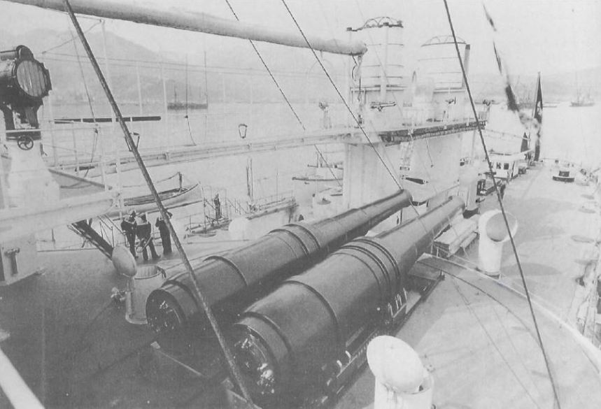 immense 17-inch armament of the Italian Lepanto.