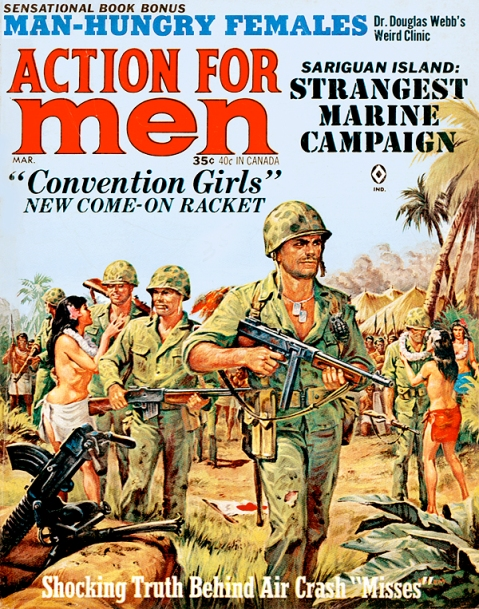 Norem had first hand knowledge of all the small arms seen on this cover from Action For Men