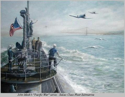 The Homecoming, original painting of a Balao class sub by artist John Meeks