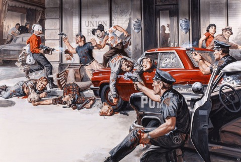 Union Bank Robbery. Great depiction of the Tommy guns.