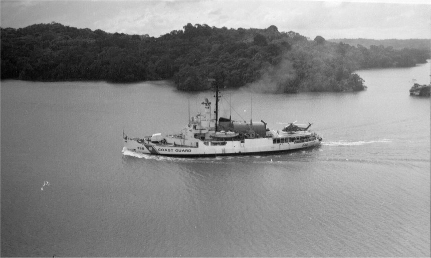 Now-USCGC Southwind (WAGB-280) transits the Panama Canal, 28 November 1967. US Coast Guard Historian's Office photo, copy sheet # 112867-13-16