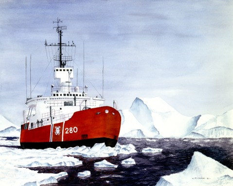 """A Coast Guard Icebreaker on patrol in the Antarctic, moves through the ice floe."" WAGB Southwind by Thomas Carr (ID# 87112) USCG Image. (Click to bigup, very nice image)"