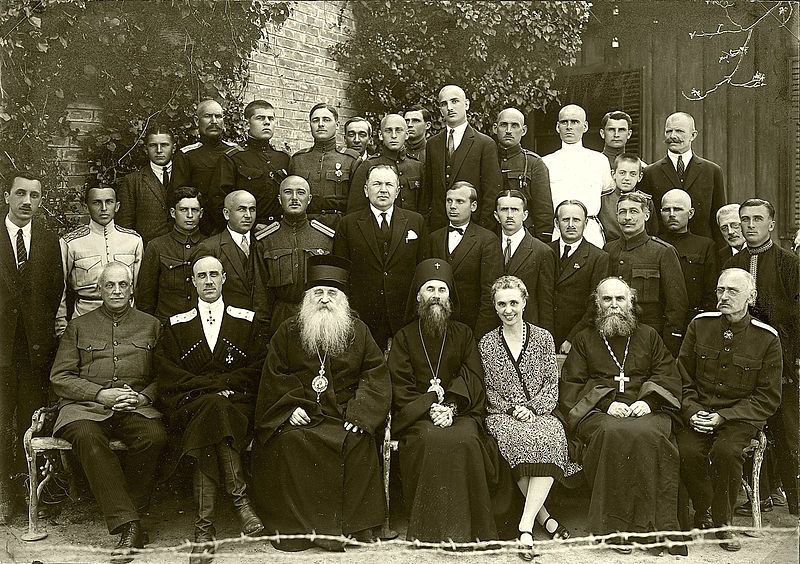 Lieutenant General PN Pyotr Wrangel (bottom row, second from left), next to Metropolitan Anthony (Khrapovitsky) and other Russian émigrés in Yugoslavia 1927. Although this group had left Russia more than seven years prior to this picture, they still have immaculate uniforms. Soviet agents would soon poison Wrangel within a year of this image.