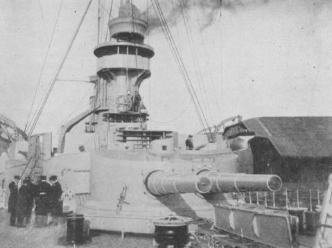 The two cruisers each had four double turrets with stout 210mm guns