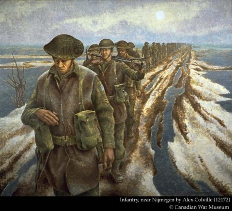 "Infantry, near Nijmegen (Canadian War Museum No. 12172), a 40"" x 48"" canvas depicting soldiers of the 3rd Canadian Infantry Division trudging along a Dutch polder, is a well-known image which hangs in the museum. Fifteen separate sketches can be associated with this work.*3 One, for example, is of the leading figure minus his head and left hand (CWM 12145). The hand appears in a separate study (CWM 82370). The preliminary drawings also show us that Colville worked with two concepts of the finished work. One features the figures moving towards the viewer, and the other, away. The only completed watercolour painting is of the latter (CWM 12170) and suggests that the final familiar composition was not the one the artist initially chose to develop."