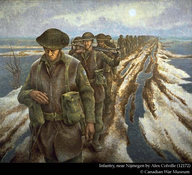 """Infantry, near Nijmegen (Canadian War Museum No. 12172), a 40"""" x 48"""" canvas depicting soldiers of the 3rd Canadian Infantry Division trudging along a Dutch polder, is a well-known image which hangs in the museum. Fifteen separate sketches can be associated with this work.*3 One, for example, is of the leading figure minus his head and left hand (CWM 12145). The hand appears in a separate study (CWM 82370). The preliminary drawings also show us that Colville worked with two concepts of the finished work. One features the figures moving towards the viewer, and the other, away. The only completed watercolour painting is of the latter (CWM 12170) and suggests that the final familiar composition was not the one the artist initially chose to develop."""