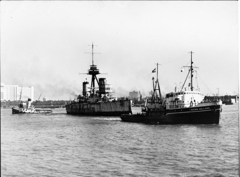 ex-Pueyrredon being towed, 1954