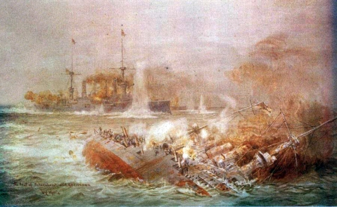 Battle of the Falkland Islands, 1914 by British Artist William Lionel Wyllie, showing Scharnhorst slipping below the waves as Gneisenau battles on