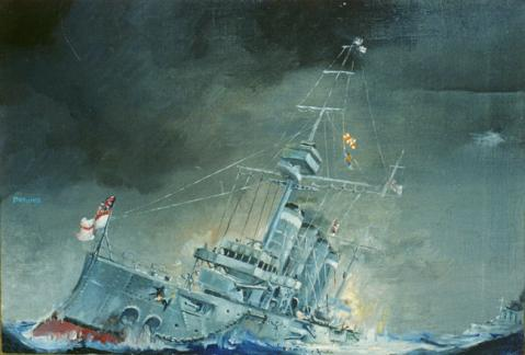 Sinking of the HMS Good Hope.  The 14,388-ton Drake-class armoured cruiser was formidible when designed in the 1890s, but she only had two breechloading 9.2-inch Mk 10 guns that could be used in the battle. Scharnhorst and Gneisenau gave her no chance.