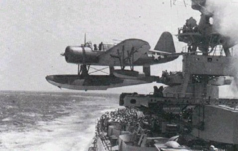 A Kingfisher being launched from the Cat of the USS Pringle (DD-477). One of the few 2000-ton Fletcher class destroyers equipped for these aircraft.