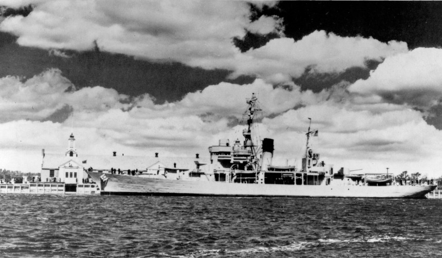 USTS Charleston in the late 1940′s at Buzzard's Bay while a school ship for the Massachusetts Maritime Academy. NHHC image NH 77120.