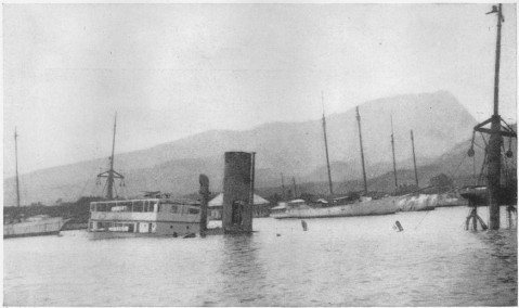 "The German steamer ""Walküre"" sunk in the harbor of Papeete, Tahiti, when the German cruisers ""Scharnhorst"" and ""Gneisenau"" shelled the town"