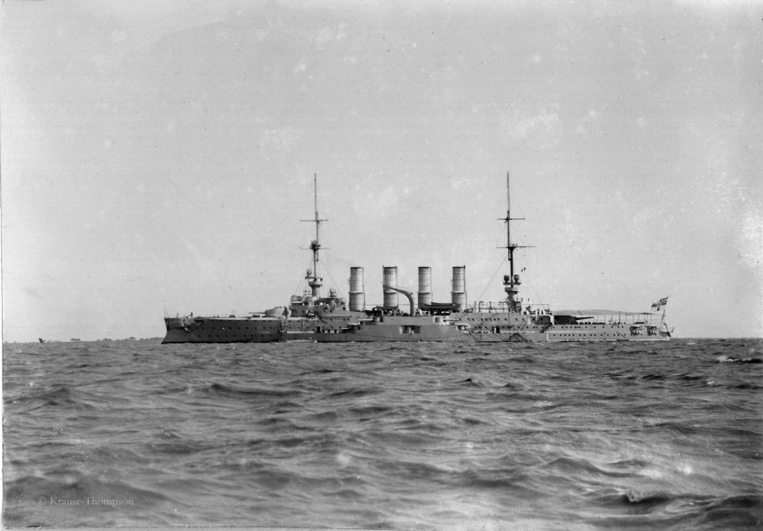 The German Armored cruiser Gneisenau. Date unknown.