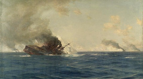Sinking of the Scharnhorst painted by Admiral Thomas Jacques Somerscales currently on display at the Royal Museums Greenwich
