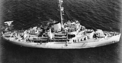 USCGC Southwind (WAGB-280) at anchor probably in the vicinity of San Pedro, CA., in July 1944 sometime before or after her commissioning on 15 July 1944. Photo by Navsource