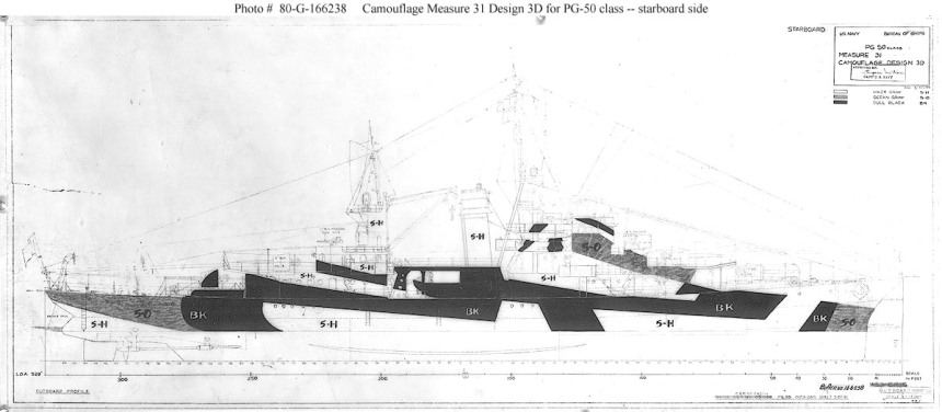 The ships carried a very distinctive camouflage scheme during the war.