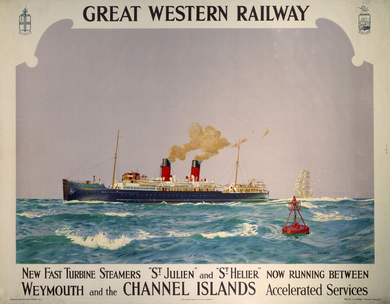 """""""New Fast Turbine Steamers"""" GWR poster, 1923-1947. Poster produced for the Great Western Railway (GWR) to promote the new turbine steamers St Julien and St Helier which operated on services between Weymouth and the Channel Islands. Artwork by Charles Pears, a marine painter in oil who was an Official Naval Artist during the World Wars. He worked as a poster artist for rail companies and other clients and was also a book illustrator. Dimensions: 1050 mm x 1300 mm."""