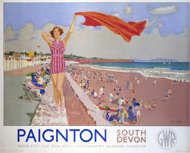 Poster produced for the Great Western Railway (GWR) promoting rail travel to Paignton, South Devon. The poster shows a bathing belle waving a towel on the beach, with the promenade stretching out behind her and sunbathers  enjoying themselves on the beach. Artwork by Charles Pears,