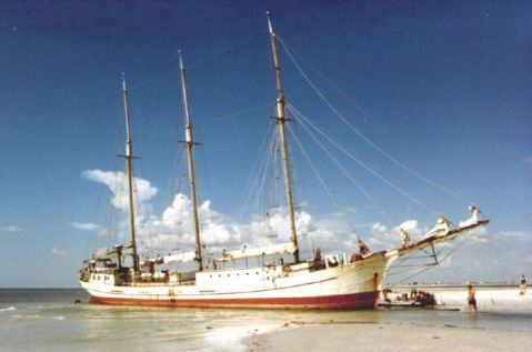 St Christopher hard aground 1985. Photo by Frank McBoom