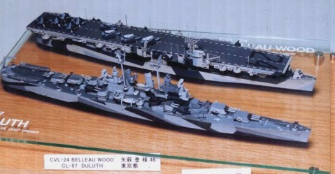 A scale model of the Independence-class light carriers and the Cleveland-class light cruiser. Note the hulls.