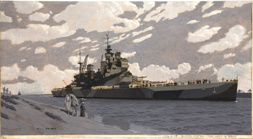 """""""Battleship HMS Howe in Suez Canal""""by Charles Pears"""