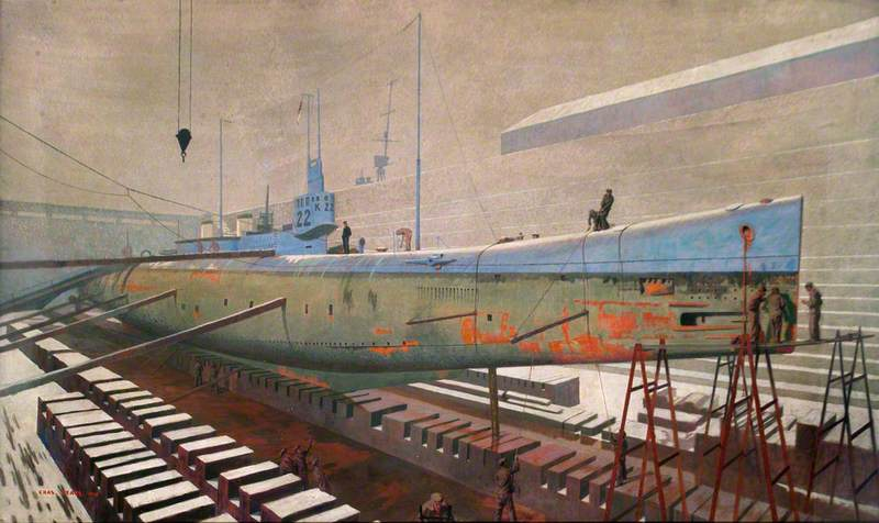 """""""British sub K22 in drydock at Rosyth, Winter"""" by Charles Pears. The Royal Society of Marine Artists; Supplied by The Public Catalogue Foundation"""