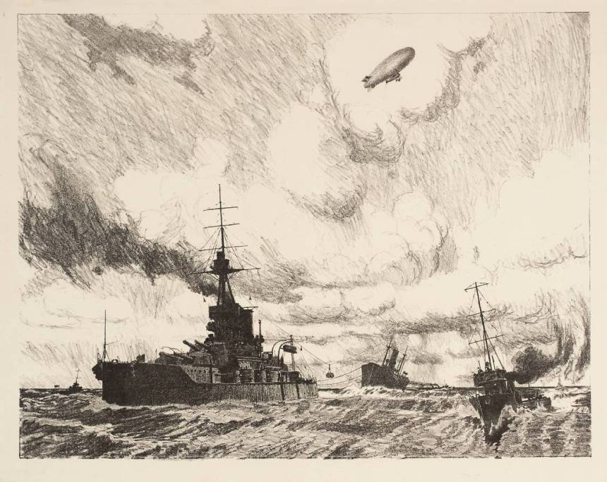 """""""Transport by Sea: Supplying the Navy 1917"""" by Charles Pears 1873-1958 Presented by the Ministry of Information 1918 http://www.tate.org.uk/art/work/P03061"""