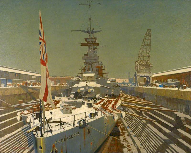 """Charles Pears """"HMS Courageous in drydock"""""""