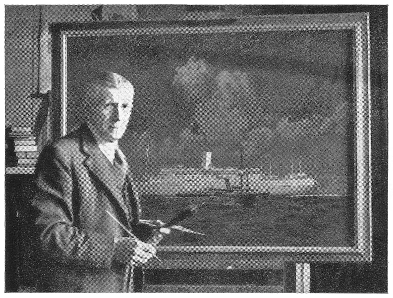 Charles Pears working on an oil painting of 'R.M.S. Orcades'
