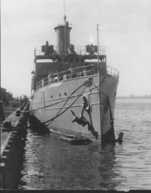 ex-Gresham, then Hatikva of the Israeli Navy (אוניית_מעפילים_התקוה) around 1948. This is the last known picture in circulation of her.