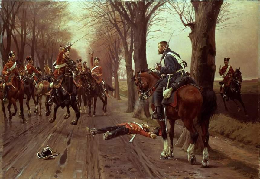 Danish dragoon fighting prussian hussars. By Frants Henningsen
