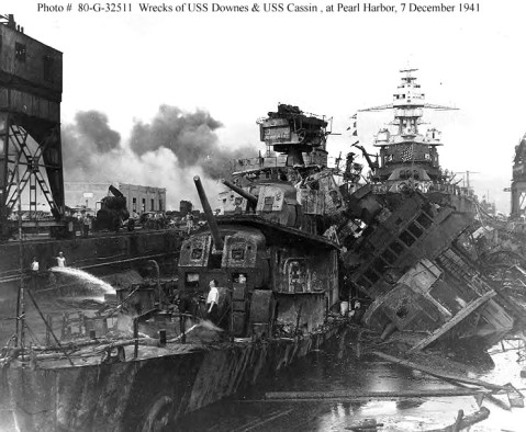 Pearl Harbor Attack, 7 December 1941, USS Downes (DD-375), at left, and USS Cassin (DD-372), capsized at right, burned out and sunk in the Pearl Harbor Navy Yard drydock on 7 December 1941, after the Japanese attack. The relatively undamaged USS Pennsylvania (BB-38) is in the background. Official U.S. Navy Photograph, now in the collections of the National Archives.