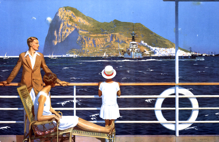 """""""Gibraltar"""" by Charles Pears, for the Empire Marketing Board, 1930. Note that its a travel poster-- but he still was able to work in a plethora of Royal Navy ships on the horizon."""