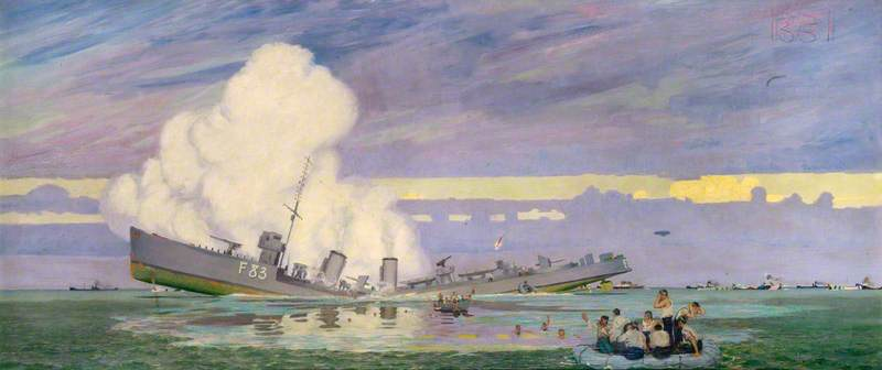 """""""HMS Ullswater torpedoed. """" by Charles Pears. The Royal Society of Marine Artists; Supplied by The Public Catalogue Foundation"""