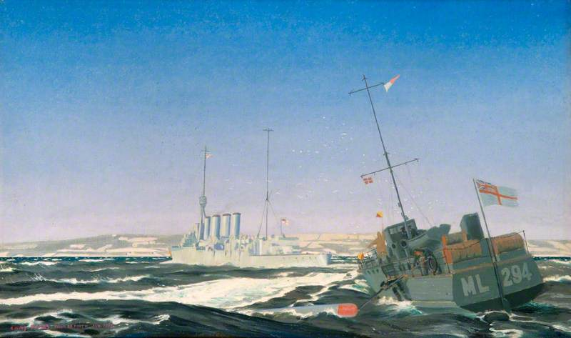 A motor launch recovering a torpedo. The Royal Society of Marine Artists; Supplied by The Public Catalogue Foundation